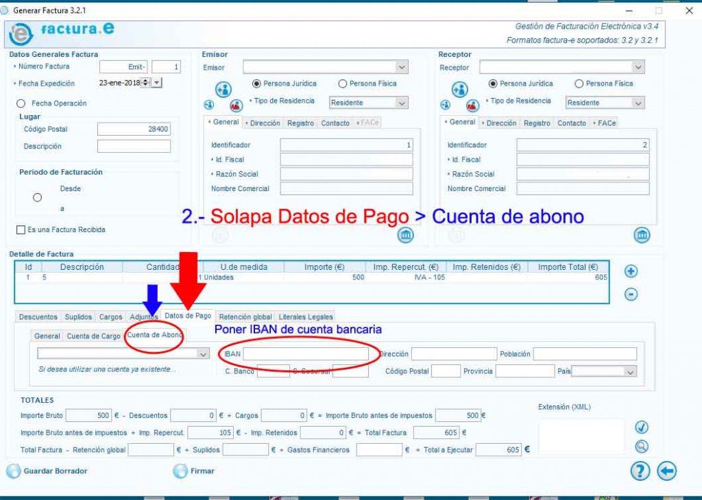 solucionar problemas de informatica-datos bancarios en facturae-2