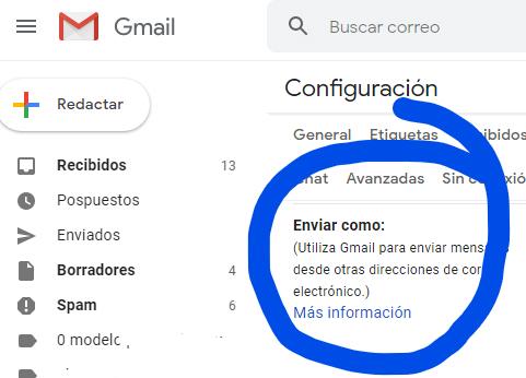 Desarrollo de páginas web y tiendas online - Informaticademadrid - Configurar Enviar como en Gmail